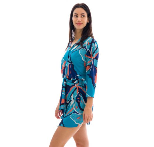 Shirty beach dress in blue and pink print - CHEMISE LILLY