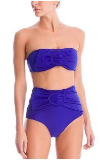 Royal blue bandeau bikini with high-waist bottom - MAJORELLE BLUE HOT PANTS