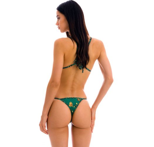 Brazilian fixed bikini with thin sides and green leopard pattern - SET ROAR-GREEN TRI-FIXO CALIFORNIA