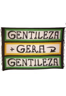 カンガ・ジェラ・ジェンティレザの特徴は白地にカラフルなボーダーラインと、その大胆なメッセージ。 - CANGA GERA GENTILEZA