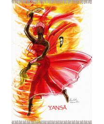 Fringed pareo with Yansa, the goddess of war - YANSA