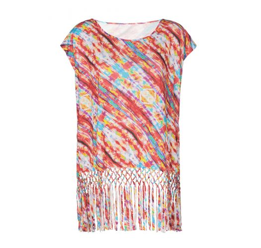 Multicoloured printed beach cover-up with fringing - CAFTAN TIE DYE COLOR