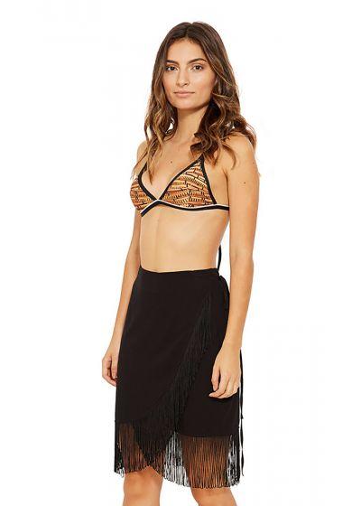 Пляжная юбка в стиле парео чёрного цвета с бахромой - SAIA PAREO FRANJA