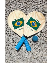 Rackets, 2er-Satz, brasilianische Flagge - KIT RAQUETE MADEIRA BRASIL