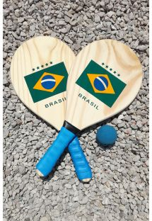 Set of 2 rackets with Brazilian flag and ball - KIT RAQUETE MADEIRA BRASIL