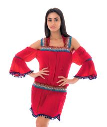 Red boho style dress with macramé inserts - KNITTED RED