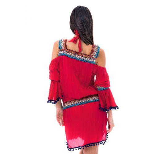 Vestido boémio c/ apliques de macramé - KNITTED RED