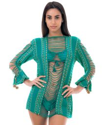 Green beach tunic with openwork and strappy detailing - ANGEL HAIR LYPTUS