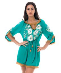 Green flower-embroidered beach dress - DANDELION TUNIC