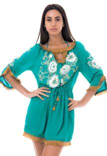 Vestito da spiaggia verde con ricamo fiori  - DANDELION TUNIC
