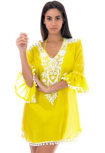 Tunique de plage jaune et guipure blanche - HINDI TUNIC