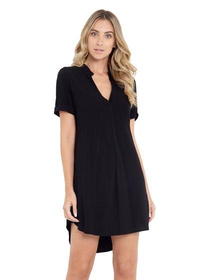 Black tunic dress with short sleeves - CHEMISE ANA