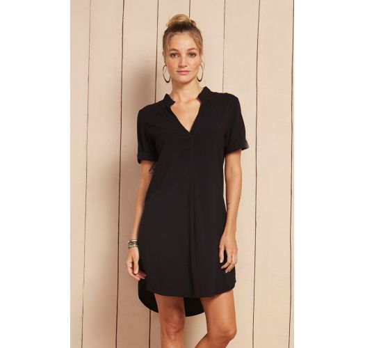 Black tunic dress with short sleeves - CHEMISE ANA