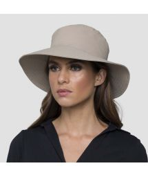 Beige elastic beach hat (for ponytail) - CHAPEU CALIFORNIA AREIA - SOLAR PROTECTION UV.LINE