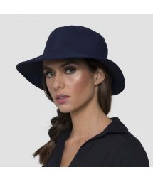 Navy elastic beach hat (for ponytail) - CHAPEU CALIFORNIA MARINHO - SOLAR PROTECTION UV.LINE