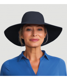 Шляпа черного цвета с широким клапаном и местом для волос - SAN DIEGO PRETO - SOLAR PROTECTION UV.LINE