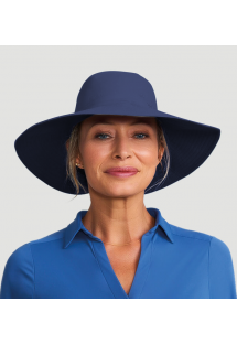 Mørkeblå rabat-hatt med stor hårerstatning - SAN DIEGO INDIGO - SOLAR PROTECTION UV.LINE