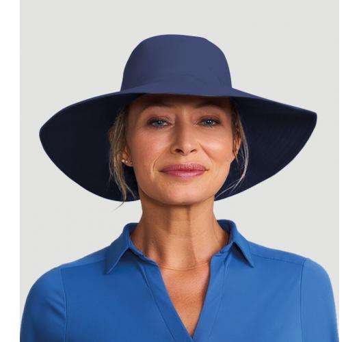 Chapeau bleu foncé rabat large emplacement cheveux - SAN DIEGO INDIGO - SOLAR PROTECTION UV.LINE