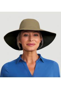 Шляпа бежево-черного цветас широким клапаном и местом для волос - SAN DIEGO KAKI/PRETO - SOLAR PROTECTION UV.LINE