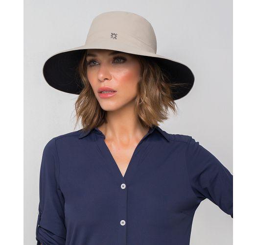 Chapéu bege/preto c/ aba larga, lugar p/a cabelo - SAN DIEGO KAKI/PRETO - SOLAR PROTECTION UV.LINE