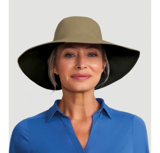 Schwarz/beiger Hut mit Pferdeschwanz-Öffnung - SAN DIEGO KAKI/PRETO - SOLAR PROTECTION UV.LINE