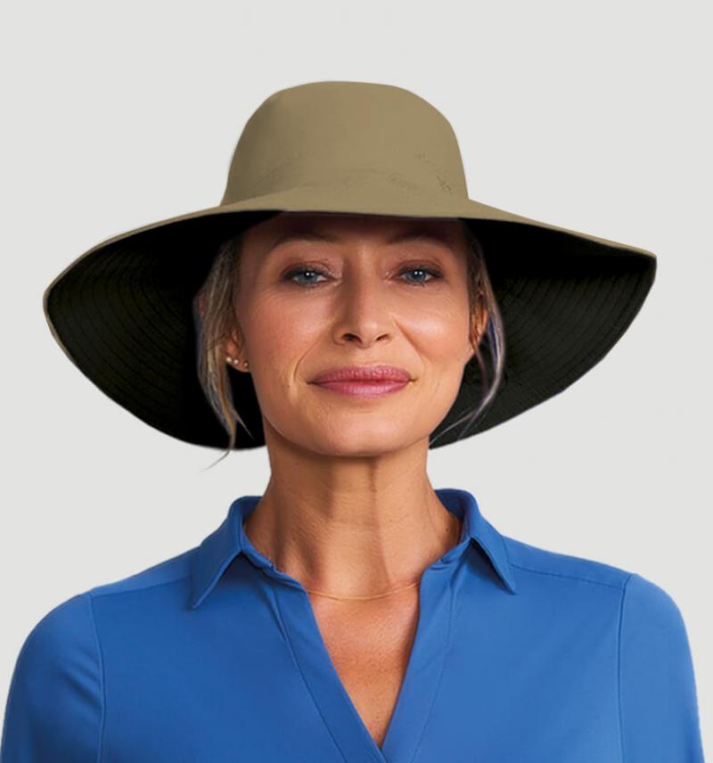 Beige & black hat velcro fastening - SAN DIEGO KAKI/PRETO - SOLAR PROTECTION UV.LINE
