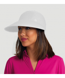 Feminine white cap with a logo - VISEIRA CAPRI COLORS BRANCO - SOLAR PROTECTION UV.LINE