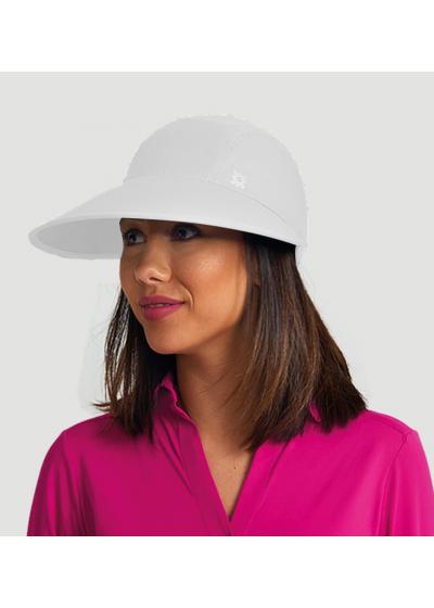 Feminine white cap with a logo - VISEIRA CAPRI COLORS BRANCO - SOLAR PROTECTION UV.LINE