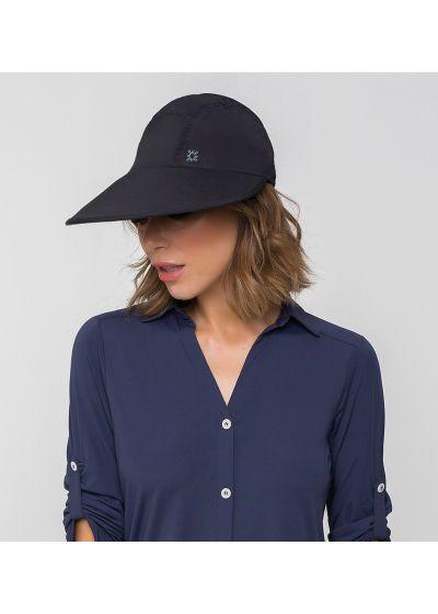 Feminine black cap with a logo - VISEIRA CAPRI COLORS PRETO - SOLAR PROTECTION UV.LINE