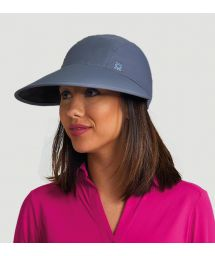 Feminine grey cap with blue logo - VISEIRA CAPRI COLORS CHUMBO/PRETO - SOLAR PROTECTION UV.LINE