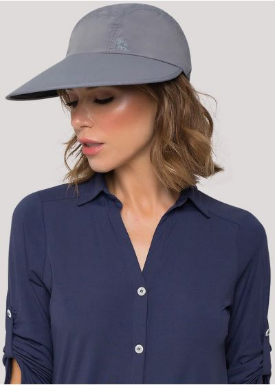 Feminine grey cap with blue logo - VISEIRA CAPRI COLORS CHUMBO/PRETO - SOLAR PROTECTION UV.LINE