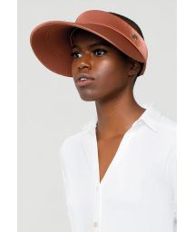 Satin brown visor with elastic back - VISEIRA GRECIA BRONZE - SOLAR PROTECTION UV.LINE