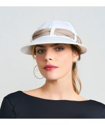 Women's white cap with khaki bandana - VISEIRA SAINT TROPEZ BRANCO/KAKI - SOLAR PROTECTION UV.LINE