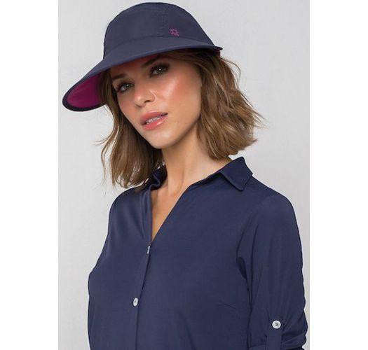 Женская кепка тёмно-синего цвета с эмблемой малинового цвета - VISEIRA CAPRI COLORS MARINHO/ROSA - SOLAR PROTECTION UV.LINE