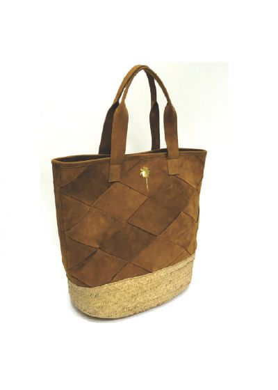 Luxury bag in brown suede and straw base - BOLSA RECORTE CESTARIA