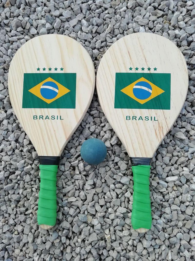 Set med 2 racketar och boll med den brasilianska flaggan - KIT RAQUETE MADEIRA BRASIL