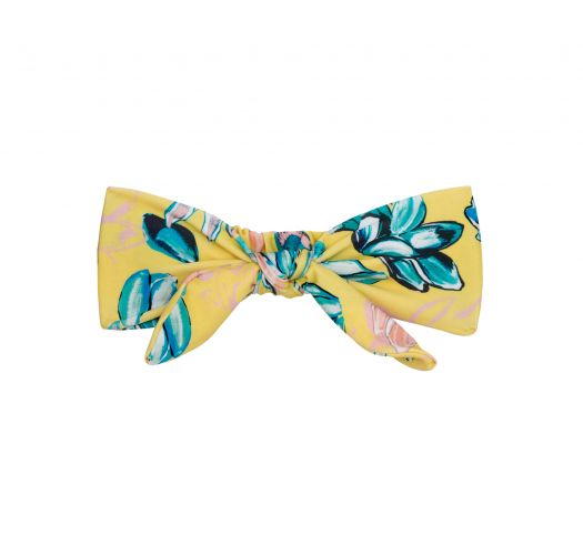 Yellow headband with a bow and flowers - FLORESCER KNOT HEADBAND