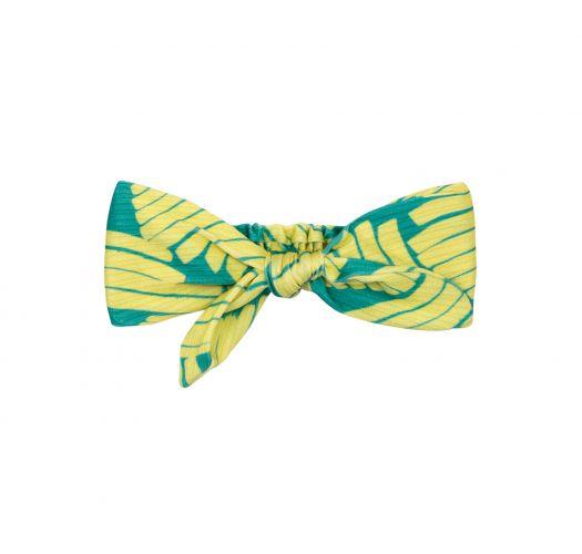 Grün gemustertes Headband mit Knoten - BANANA YELLOW KNOT HEADBAND