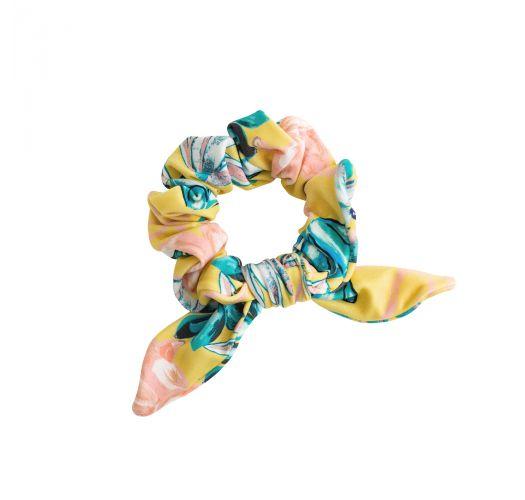 Żółta szeroka gumka do włosów w kwiaty - FLORESCER SCRUNCHIE