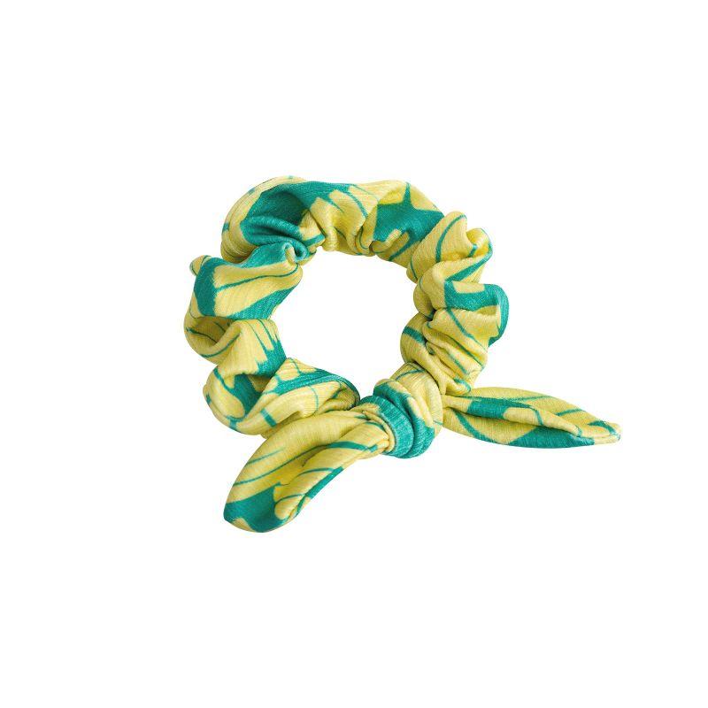 Hair scrunchie with green & yellow banana print - BANANA YELLOW SCRUNCHIE