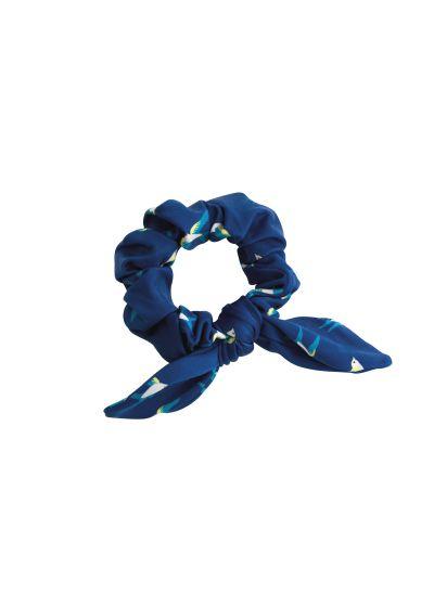 Marineblaues Zopfgummi mit Vogelmotiv - SEABIRD SCRUNCHIE