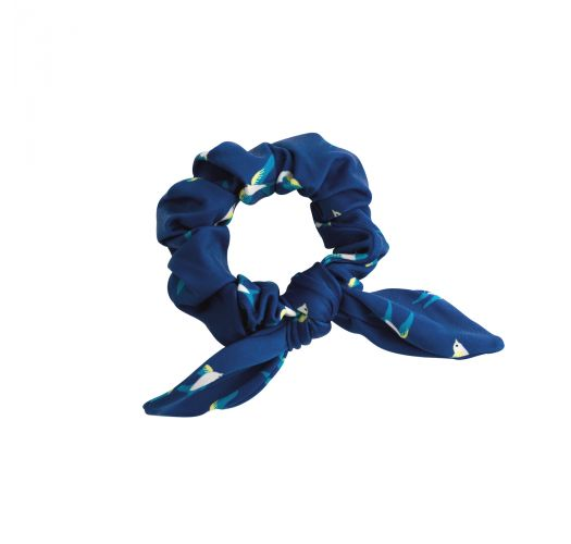 Navy blue hair elastic with bird pattern - SEABIRD SCRUNCHIE