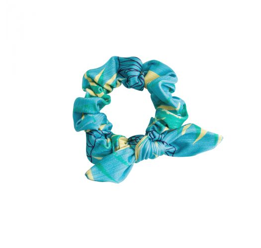 Floral blue printed hair scrunchie - FLOWER GEOMETRIC SCRUNCHIE