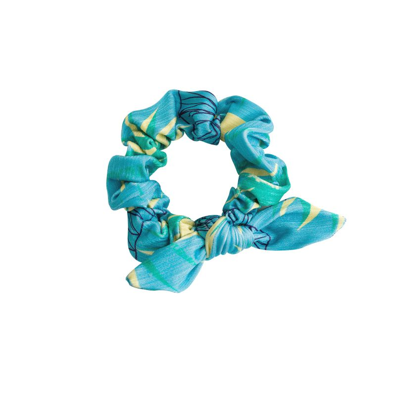 Floral blue printed hair scrunchie - FLOWER GEOMETRIC SCRUNCHIE