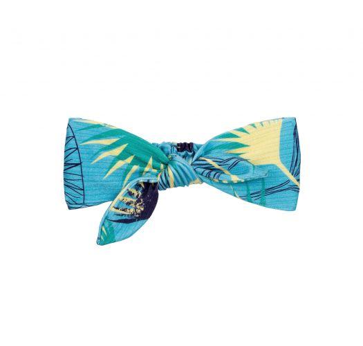 青い花柄が入ったリボン結びヘッドバンド - FLOWER GEOMETRIC KNOT HEADBAND