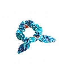 Blaugrundig geblümtes Zopfband mit Knoten - ISLA SCRUNCHIE
