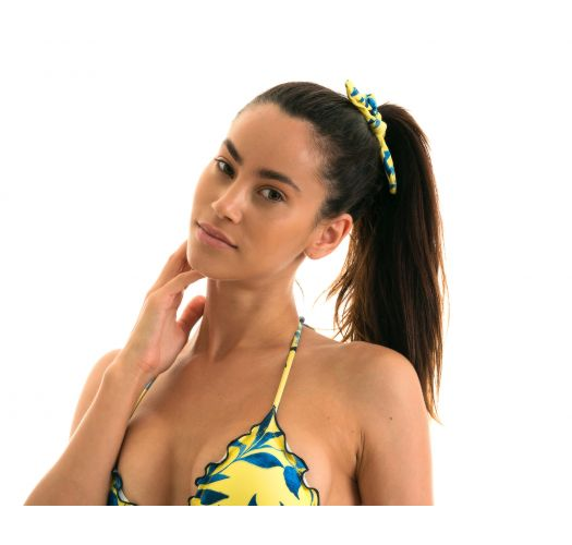 Hair scrunchie with a knot and yellow and blue print - LEMON FLOWER SCRUNCHIE