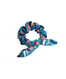 Blue & pink printed hair scrunchie - LILLY SCRUNCHIE