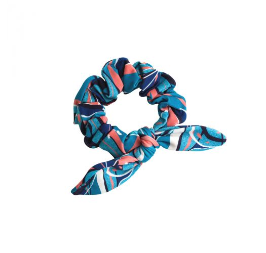 Scrunchie per capelli stampato blu e rosa - LILLY SCRUNCHIE