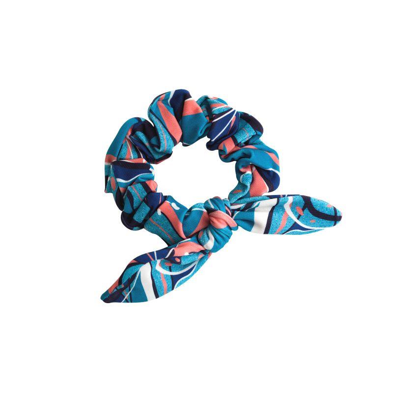 Blue & pink printed hair scrunchie - LILLY SCRUNCHIE
